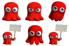 Octopus. 3d cartoon cute red octopus Royalty Free Stock Image
