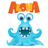 Octopus alien monster emoji character with aloha title Royalty Free Stock Photography