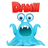 Octopus alien monster emoji character with damn title. Stock Photography