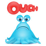 Octopus alien monster emoji character with ouch title. Stock Image