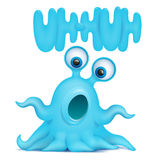 Octopus alien monster emoji character with uh-huh title Royalty Free Stock Images