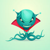 Octopus Alien Monster. Monster alien octopus with a red collar and a mustache Stock Image