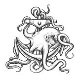 Octopus and Anchor. Octopus with an anchor drawn in tattoo style.  on white Stock Image