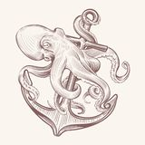 Octopus with anchor. Sketch sea kraken squid holding ship anchor. Octopus navy tattoo vector vintage design
