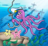 Octopus with anchor and starfishes. Color illustration Royalty Free Stock Photos