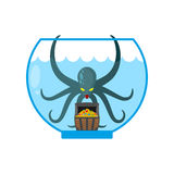 Octopus in aquarium are treasures. Miniature kraken. Home of Cth Royalty Free Stock Photo