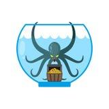 Octopus in aquarium are treasures. Miniature kraken. Home of Cth Royalty Free Stock Photo