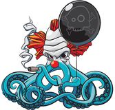 Octopus the Bad Clown. Vector colourful illustration of octopus the angry clown smoking cigar with black balloon in his tentacles, isolated on white background Stock Images