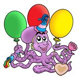 Octopus with ballons. Color illustration of octupus with ballons stock illustration