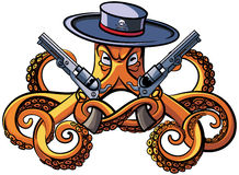 Octopus the Bandit. Vector colourful illustration of octopus in the broad-brim with two handguns in his tentacles, isolated on white background. File doesn`t Stock Image