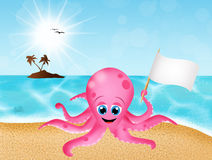 Octopus on the beach Royalty Free Stock Photo