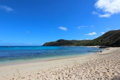 A white sand beach in a tropical island, Fiji royalty free stock photography