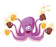 Octopus with beer. Illustration of a octopus with beer Royalty Free Stock Image