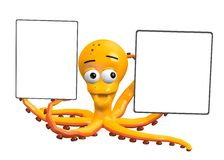 Octopus with blank templates Stock Images