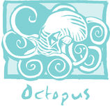 Octopus in blue Stock Photos