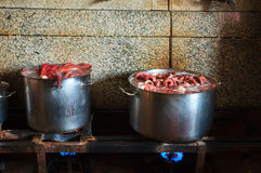 The octopus boiling inside a cauldron Stock Photography