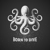 Octopus. Born to dive. Chalk drawing on blackboard. T-shirt design Stock Photography