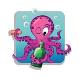 Octopus with bottle Royalty Free Stock Photography