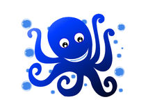 Octopus with bubbles. Octopus and bubbles on an isolated background royalty free illustration