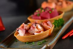 Octopus canapes plaat royalty-vrije stock afbeelding