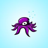 Octopus Cartoon. Animated purple octopus is great for icon, stock, logo etc Stock Photos