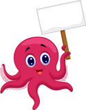 Octopus cartoon holding blank sign Stock Photos