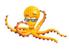 Octopus character with glasses Royalty Free Stock Photos
