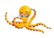 Octopus character with glasses -smart Royalty Free Stock Images