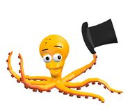 Octopus character with hat Stock Image