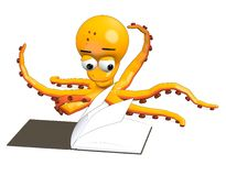 Octopus character reading book Royalty Free Stock Image
