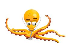 Octopus character with stethoscope Royalty Free Stock Image