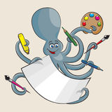 Octopus. The cheerful octopus holds in all its arms of paint, a brush, pencils, markers and paper Royalty Free Stock Photo