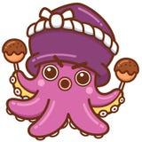 Octopus chef. Vector illustration of Cartoon octopus chef stock illustration