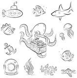Octopus and the chest. Set of  cartoons on deep underwater world theme Royalty Free Stock Photo