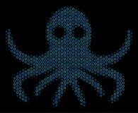Octopus Collage Icon of Halftone Bubbles. Halftone Octopus composition icon of empty circles in blue color tinges on a black background. Vector empty circles are Royalty Free Stock Image