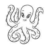 Octopus coloring book. Royalty Free Stock Images
