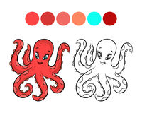 Octopus coloring book. Stock Photo
