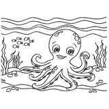 Octopus Coloring Pages vector Stock Images