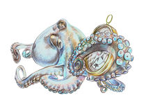 Octopus with compass. Illustrationt octopus with compass made with color pencils on white background Stock Photography