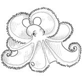 Octopus - contour drawing Royalty Free Stock Images