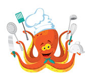 Octopus cook Royalty Free Stock Image