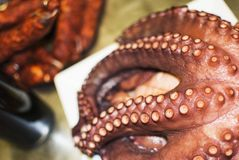 Octopus cooked. And presented in the table with accessories Royalty Free Stock Photo