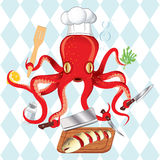 Octopus cooking sushi and fish Royalty Free Stock Images