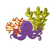 Octopus, coral and algae icon. Sea life design. Vector graphic Royalty Free Stock Images