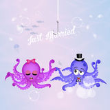 Octopus couple in love. Illustration of octopus couple in love in the ocean Stock Photos