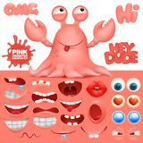 Octopus crab monster cartoon character creation kit. Vector illustration Stock Images