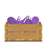 Octopus in crate. Vector crate with octopuses. Natural, healthy food concept. Fresh sea animals collected in the wooden box. Flat design style Royalty Free Stock Image