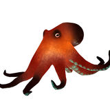 Octopus 3d render. 3d render image of a brown octopus with blue suction cups. Isolated on white background Stock Image