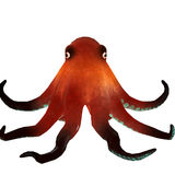 Octopus 3d render. 3d render image of a brown octopus with blue suction cups. Isolated on white background Stock Photography