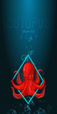 Octopus in deep. Vector color illustration on gradient background with decorative element. Stock Photos